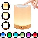 omitium Luz De Nocturna LED, Lámpara de Mesita de Noche Inteligente Recargable por USB Diseño de Control Táctil Portátil para la Cuarto de Los Niños Dormitorio Acampar (blanco cálido)