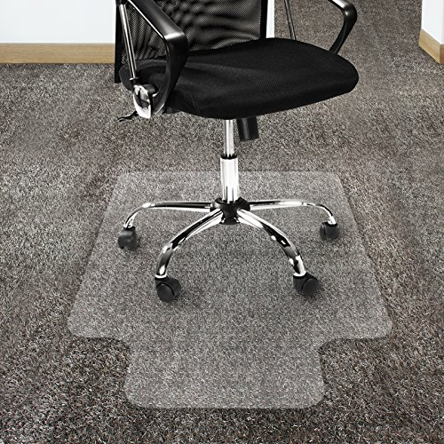 "Office Marshal Polycarbonate Chair Mat with Lip for High Pile Carpet Floors, 36"" x 48"" - Multiple Sizes - Clear, Studded, Carpet Floor Protection Mat -  4058171085872"