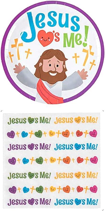 Charmed By Dragons Jesus Loves Me Suministros de Fiesta para 16 Personas: Platos de Postre y servilletas: Amazon.es: Juguetes y juegos