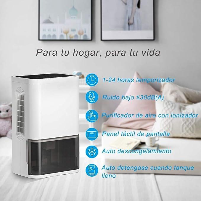 LUKO compacto y portátil mini deshumidificador 1800mL, silencioso tecnología de semiconductor, purificador de aire y temporizador para el hogar, habitación, ...