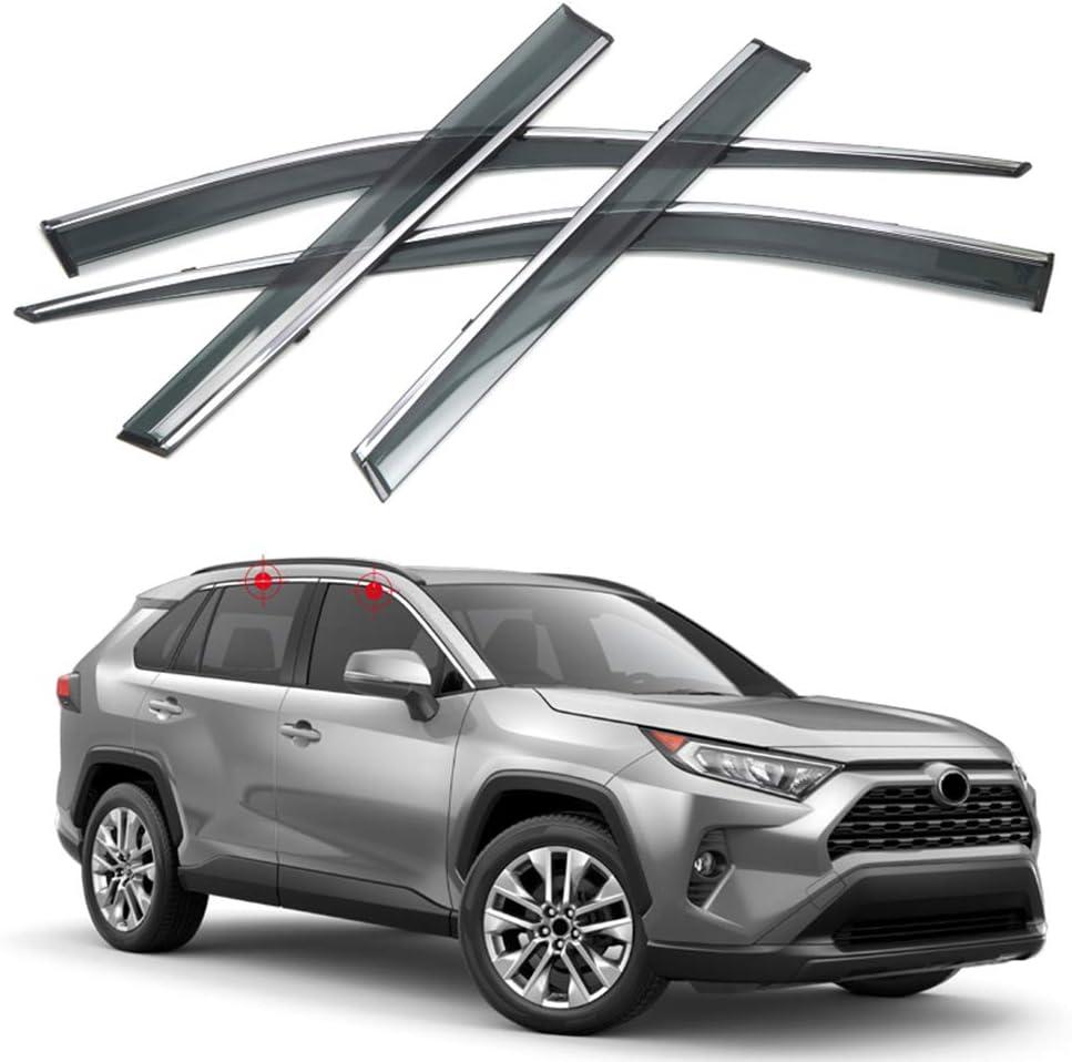 Black ITrims for Toyota RAV4 XA50 2019 2020 Car Accessories Rear Car Side Window Louvers Vent Cover Trim Decorative 2PCS