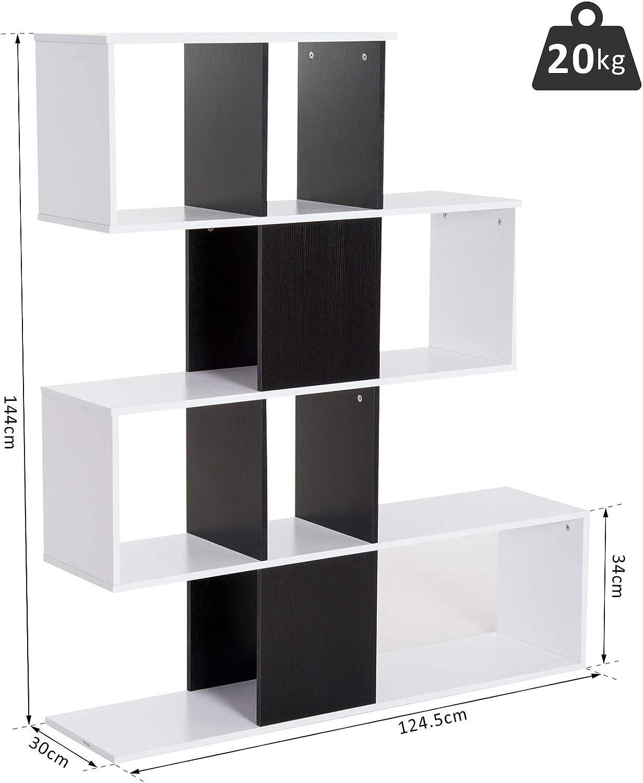 homcom Libreria di Design in Legno 124.5/×30/×144cm Mobili Ufficio Scaffale