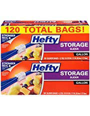 Hefty Slider Storage Bags - Gallon Size, 4 Boxes of 30 Bags (120 total)