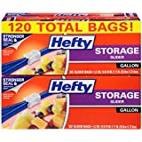 Hefty Slider Plastic Food Storage Bags (Gallon, 30 Count, Pack of 4)