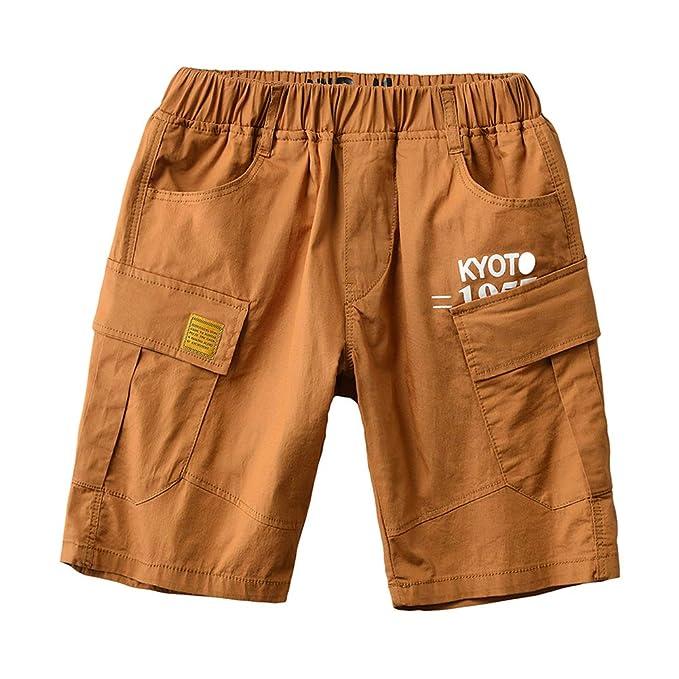 31480b81559d4b Lau's Pantaloncini Bambini e Ragazzi - Pantaloni Cargo Corti Ragazzo  Bermuda Short Arancione Giallo 5-