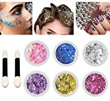 Body Glitter 6 Colors Holographic Chunky Glitter Long Lasting Fix Gel,COSMETIC GLITTER NEKOMI,Festival Beauty Makeup Face Body Hair Nails,Apply directly without glue