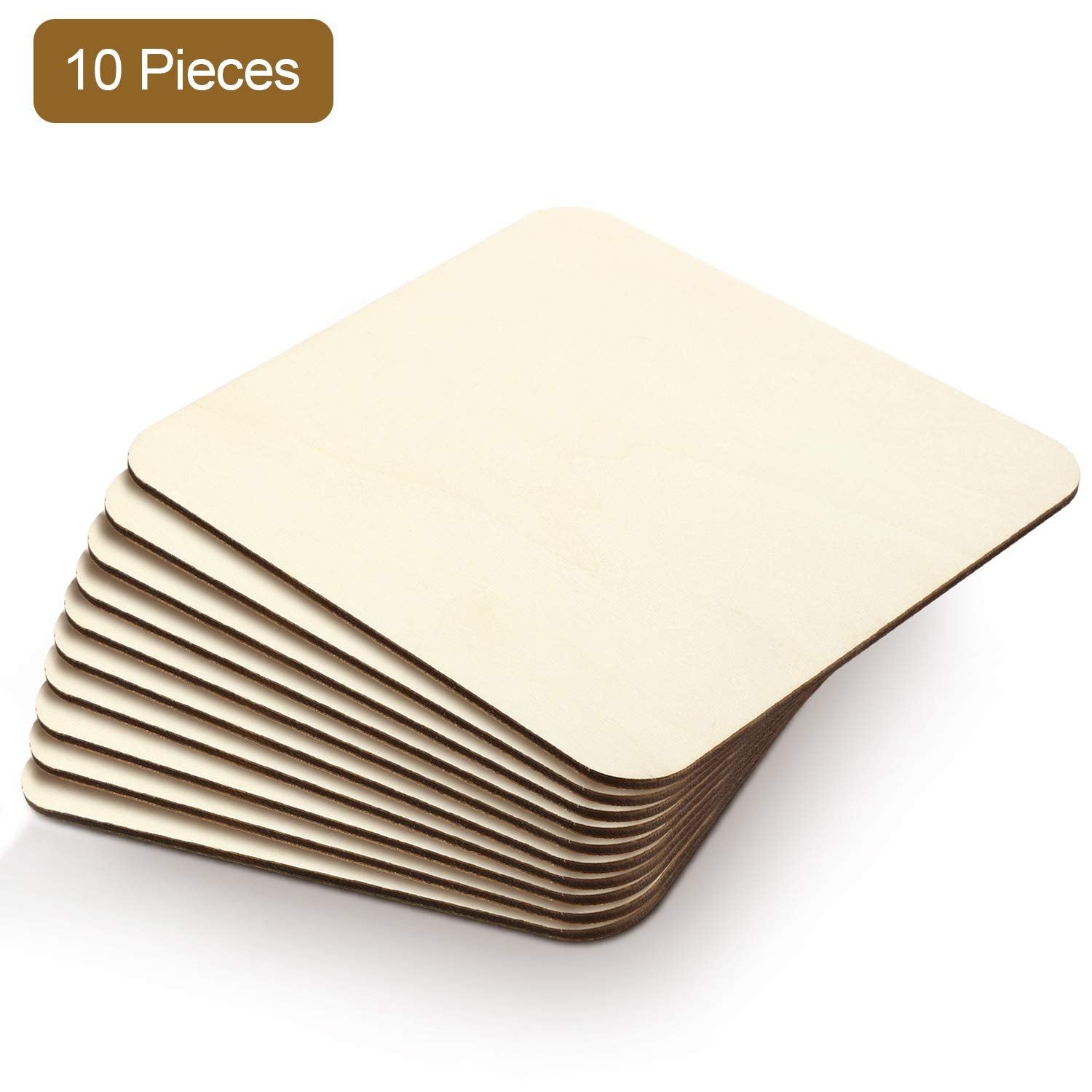 6 x 6 Inch, 10 Pieces Decoration Laser Engraving Carving Boao Blank Wood Squares Wood Pieces Unfinished Round Corner Square Wooden Cutouts for DIY Arts Craft Project