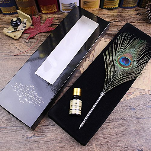 Peacock Feather Dip Pen Set Calligraphy Feather Quill Pen Set Antique Feather Writting Quill Pen with Ink from OPENDGO