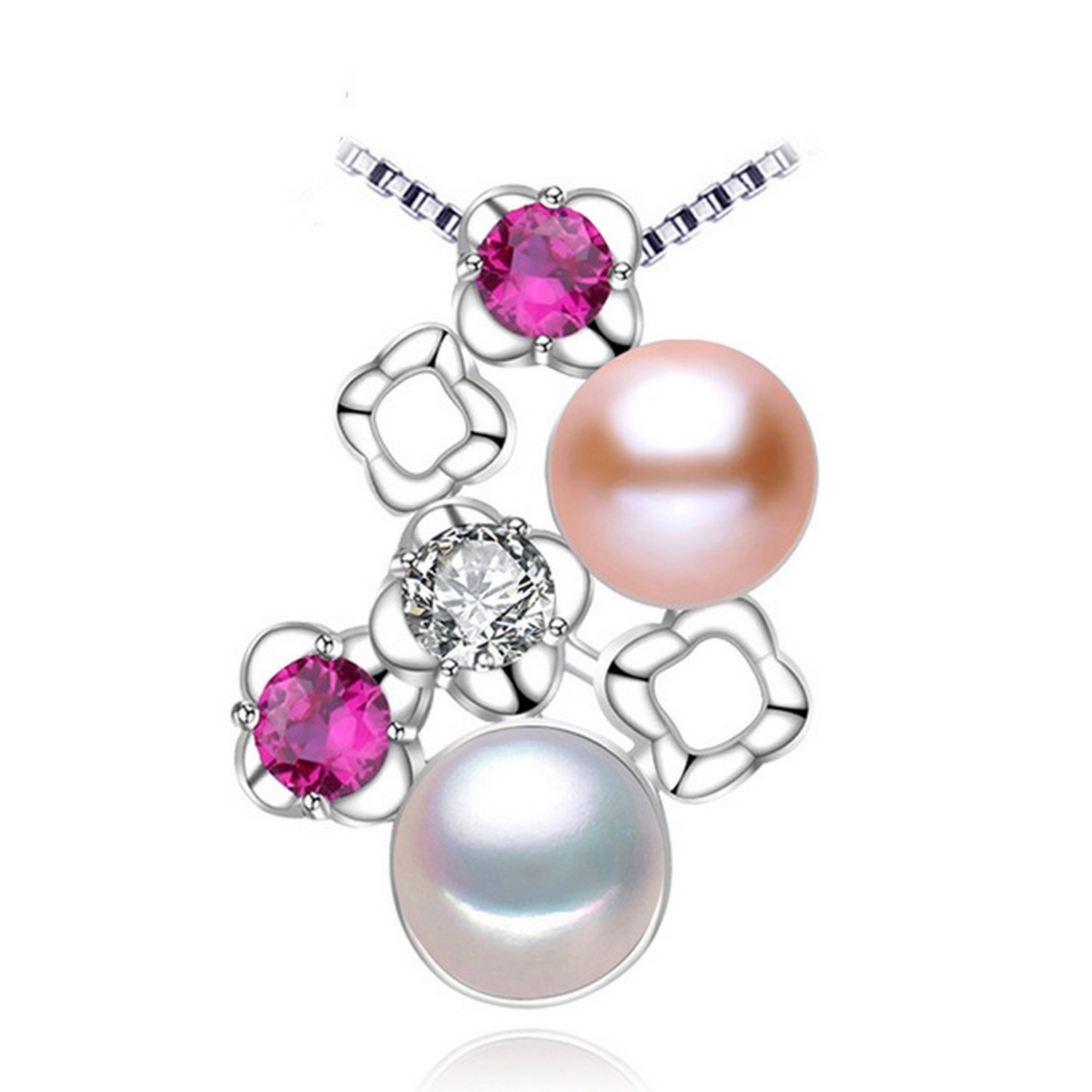 CS-DB Jewelry Silver Charm Double Pearl Chain Charm Pendants Necklaces