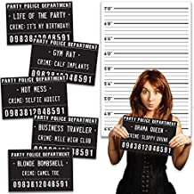 20 Pack - Includes Height Back Drop Poster - Outrageously Hilarious Birthday Party Mug Shot Signs - For Men and Women, Perfect for 30th, 40th or 50th Birthday - Photo Booth Props