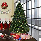 Goplus 7FT Artificial Christmas Tree Pre-Lit Optical Fiber Tree 8  (Small Image)