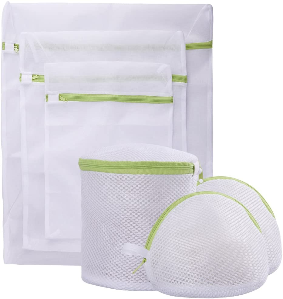 Pagetoc Mesh Laundry Bag Set of 6, White Delicate Durable Polyester Wash Bags with Zipper for Laundry Blouse Hosiery Stocking Underwear Bra and Lingerie