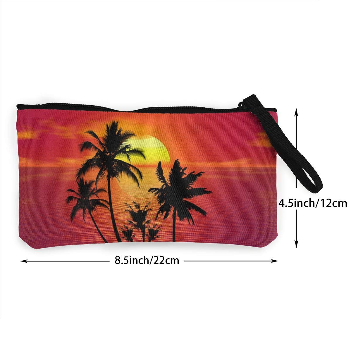 Novelty Tropical Sunset 3D Graphic Printing Multi-Functional Canvas Coin Purse