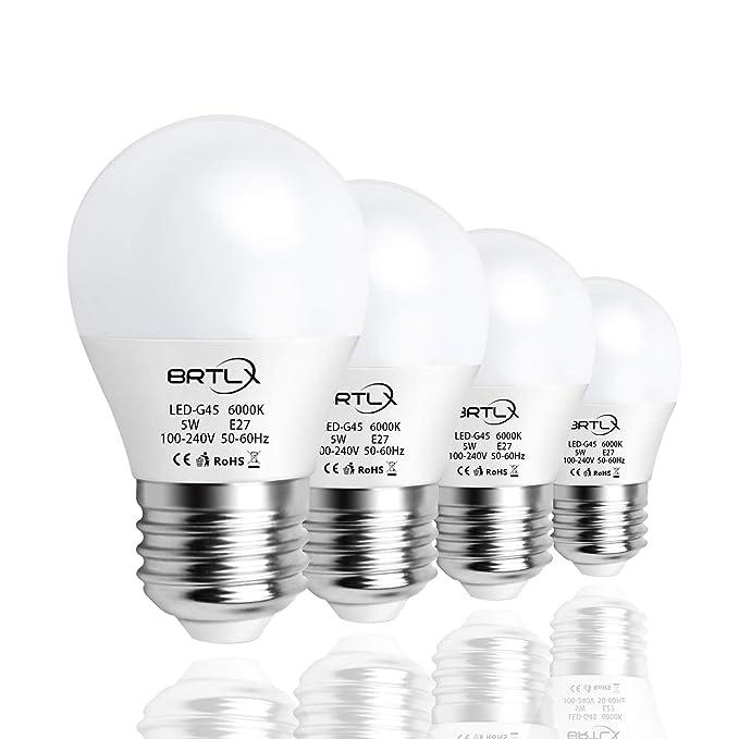 BRTLX 5W G45 Bombilla LED Mini Globo Blanco Frio 6000K E27 ...