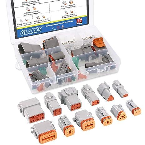e56ede2c647f60 Amazon.com  Glarks 6 Sets 2 3 4 6 8 12 Pin DT Series Sealed Gray ...