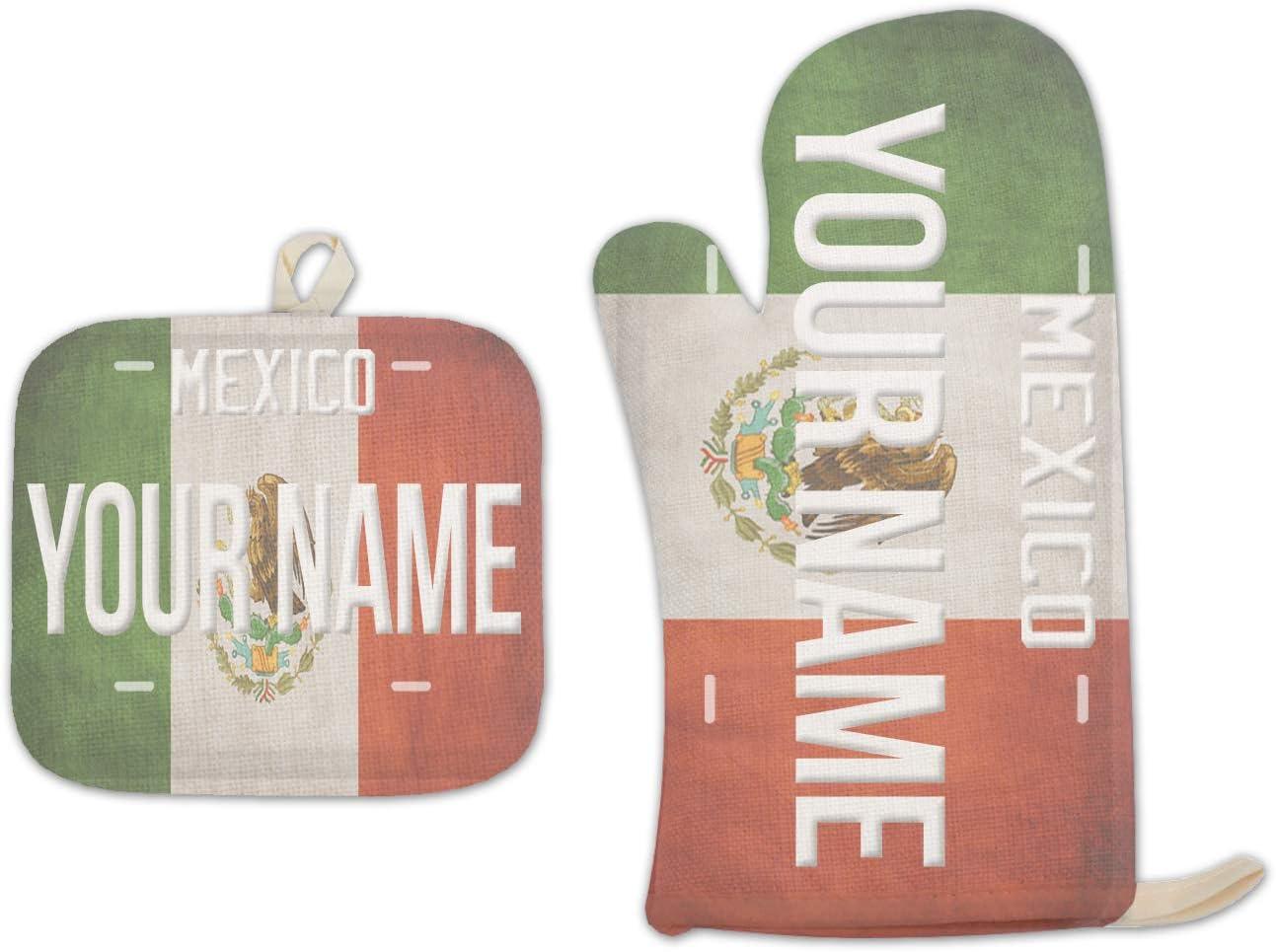 Bleu Reign BRGiftShop Personalized Custom Name License Mexico Plate Linen Oven Mitt and Potholder Set