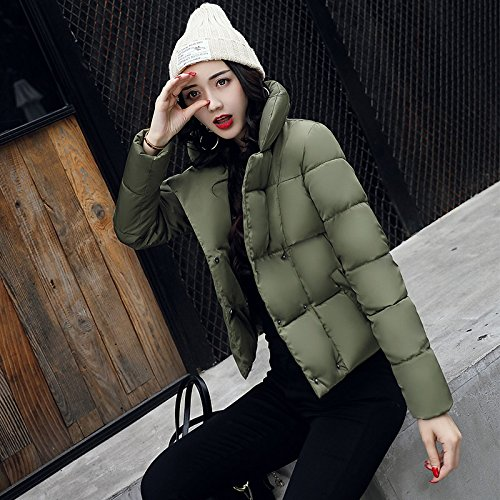 Xuanku Loose Cotton Clothing Autumn And Winter Bread High Collar Cotton Coat Jacket Women Short, Thickening The Thin Cotton Algeria ArmyGreen