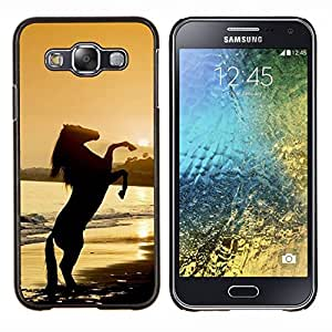EJOOY---Cubierta de la caja de protección para la piel dura ** Samsung Galaxy E5 E500 ** --sunset semental del caballo mustang