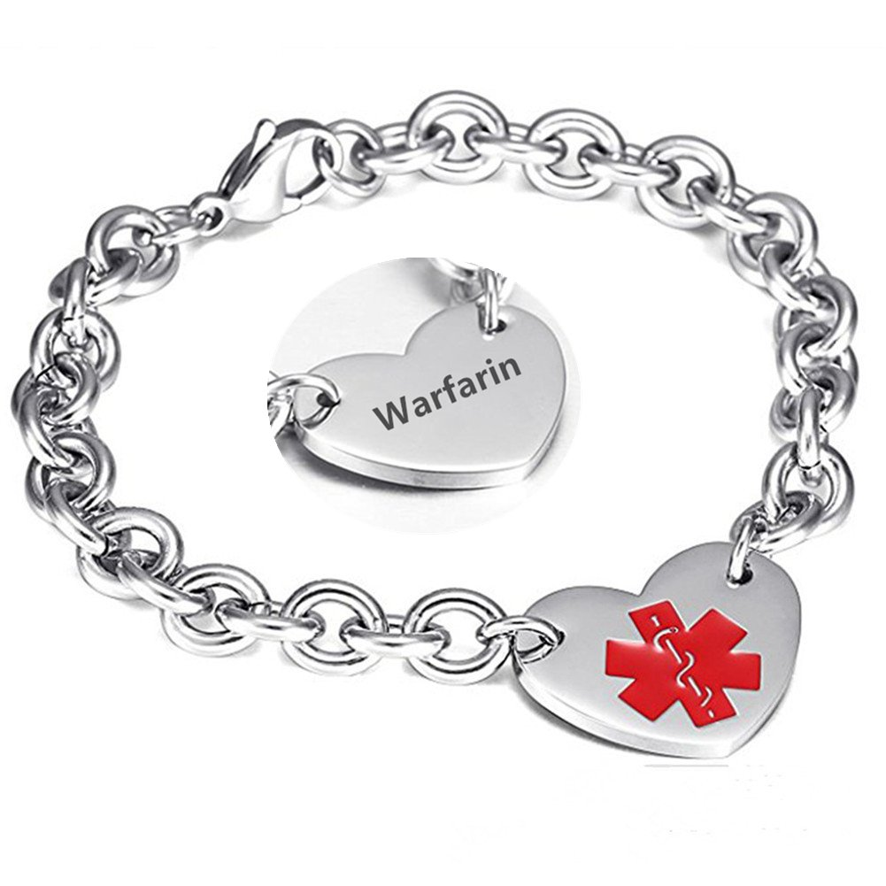 LF 316L Stainless Steel DNR Engraved Medical Alert Heart Charm Link Bracelet Rolo Chain Medic ID Bracelets Monitoring Awareness for Womens for Outdoor Emergency,Do Not Resuscitate LiFashion LF-YXSP005-Addisons