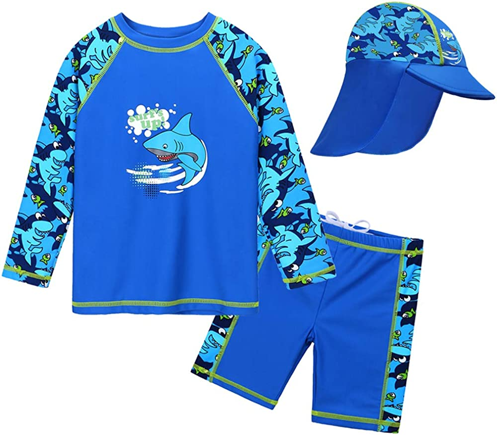 HUAANIUE Baby Toddler Boys Swimsuit Two Pieces Bathing Suit Rash Guards Set with Hat
