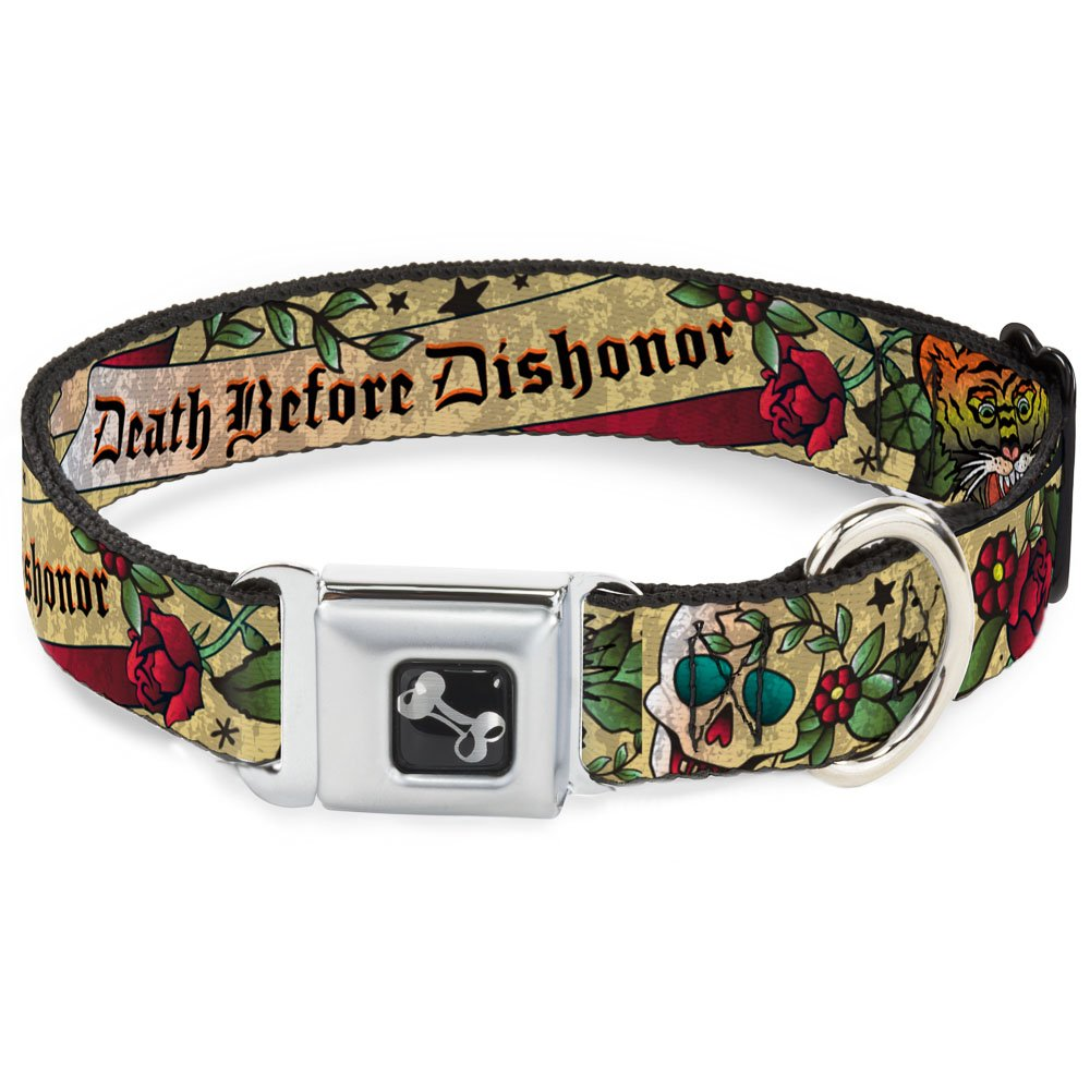 Buckle-Down Death Before Dishonor Tan Dog Collar Bone, Small 9-15