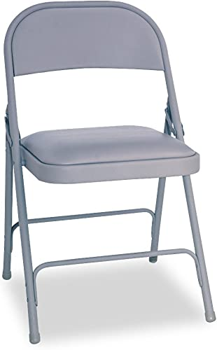 Alera ALEFC94VY40LG Steel Folding Chair with Two-Brace Support, Padded Seat, Light Gray Case of 4