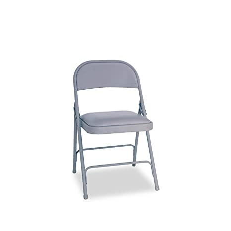 Awe Inspiring Alera Alefc94Vy40Lg Steel Folding Chair With Two Brace Support Padded Seat Light Gray Case Of 4 Theyellowbook Wood Chair Design Ideas Theyellowbookinfo