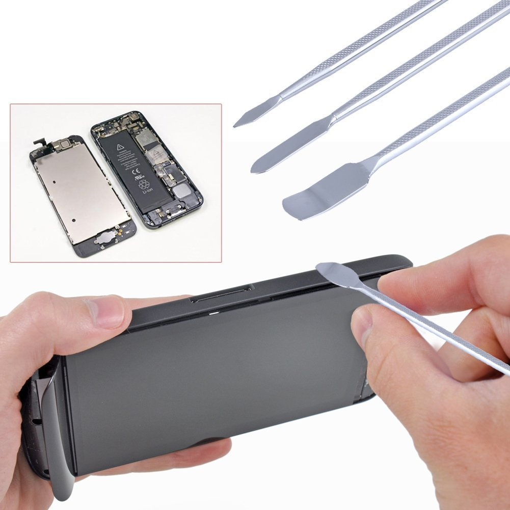 Doer 3 Pcs Double Sided Metal Spudger Professional Repair Opening Pry Tool Kit for iPhone/iPod/iPad/Samsung/Laptop and Other Devices