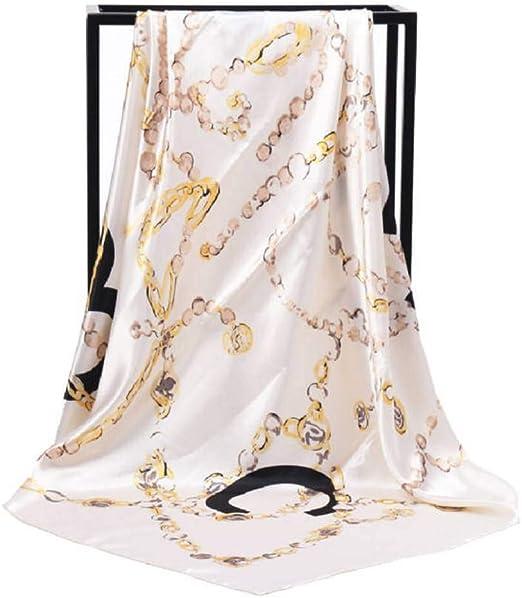 GSGJWJ Bufanda De Seda Mujer Lujo Foulard España Cadena Negra Estampada De Seda Chales Wraps Cabeza Hijab Bufandas Cuadradas 90 Cm * 90 Cm Pañuelo-GREEN: Amazon.es: Amazon.es