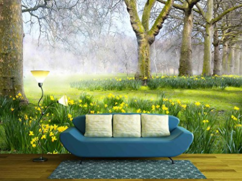wall26 - Art Spring Flowers in the English Park - Removable Wall Mural | Self-adhesive Large Wallpaper - 100x144 inches
