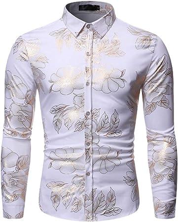 LISILI Camisas para Hombre Hipster Oro Brillante De Flores Impreso Ajustado Manga Larga Camisa De Vestir/Tops De Baile De Graduación,Blanco,M: Amazon.es: Hogar
