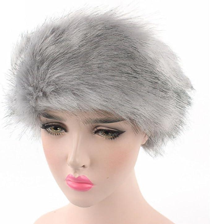 Women Ladies Winter Faux Fur Hat Warm Headband Hat Cap Pile Cap