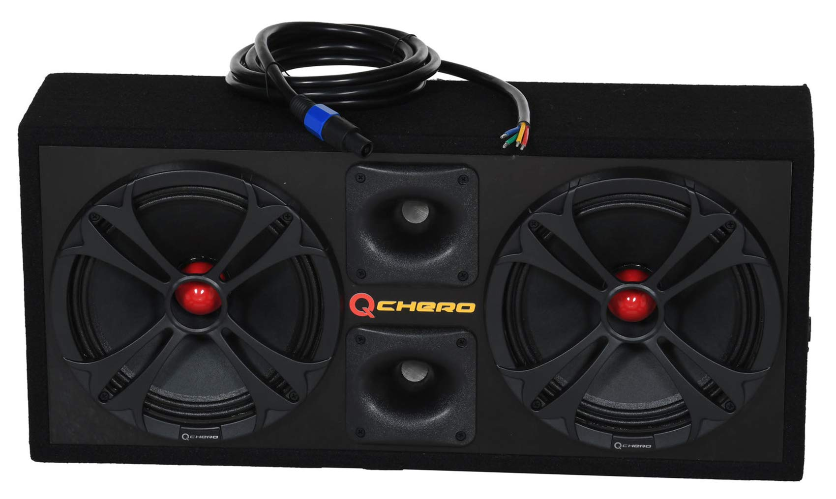 Q Power Chuchero Dual Pre Loaded 10'' Speaker Sub Box Enclosure w/ Speakon Cable