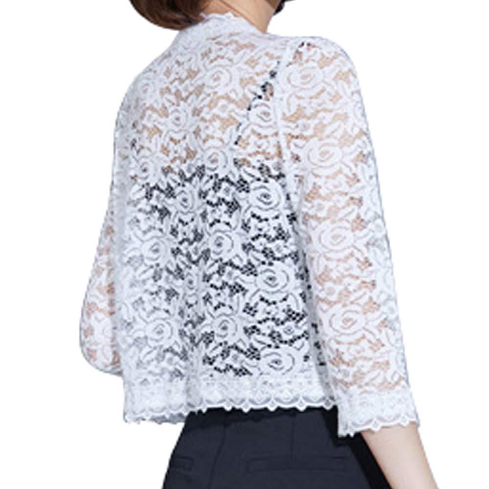 AUSZOSLT Womens 3//4 Sleeve Casual Lace Bolero Shrug Open Cropped Cardigan Top