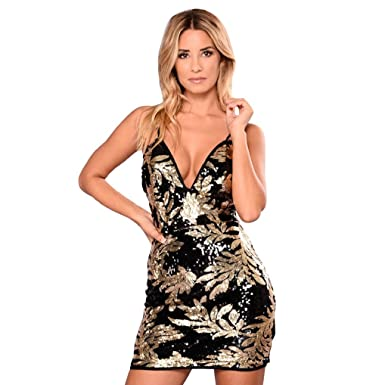 Appoi Women Dress Elegant Strappy Sexy V Neck Shining Cocktail Gown