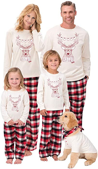 Family Christmas Pajamas With Dog.Family Christmas Pajamas Men Women Boy Girl Kids Santa Deer Tops Blouse Pants Family Pajamas Sleepwear Christmas Set