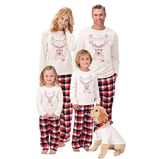 70bc8df96b1d Singleluci Parent-Child Family Pajamas Christmas Outfits Deer T Shirt Pants  Family Pajamas Sleepwear Set