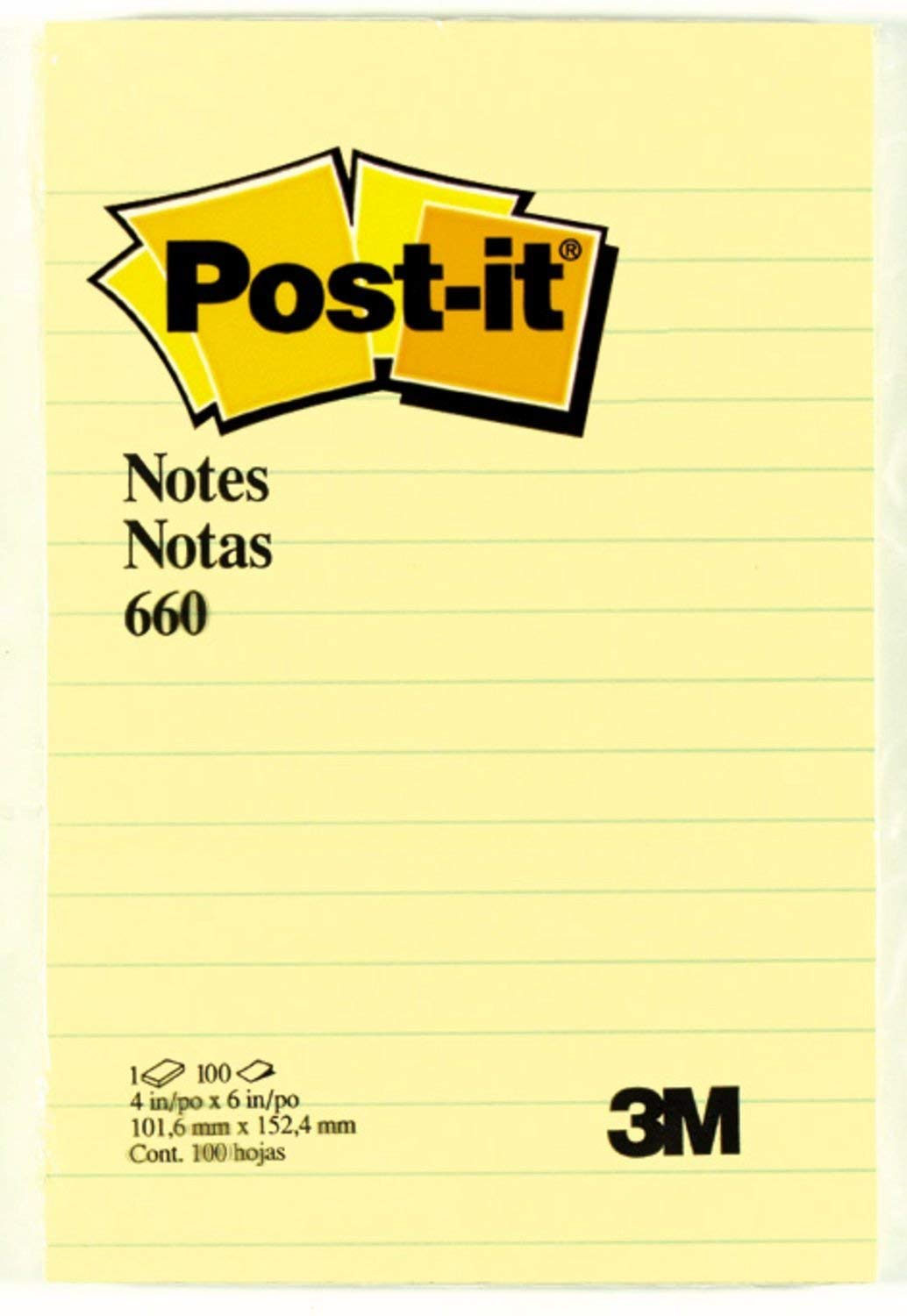 Post-it Notes, 4 in x 6 in, Canary Yellow, Lined, 12 Pads/Pack, 100 Sheets/Pad (660)