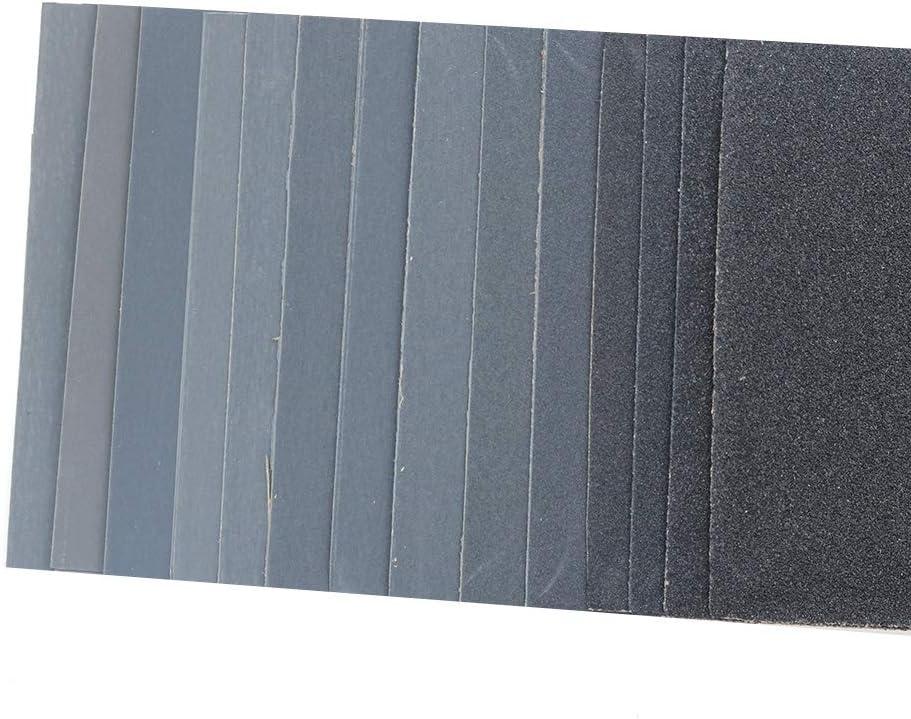 9 x 3.6 pulgadas DollaTek Lijado de carburo de silicio Lijado surtido de papel de lija para acabado de muebles de madera 28 hojas lijado de metales y pulido automotriz lijado en seco o h/úmedo