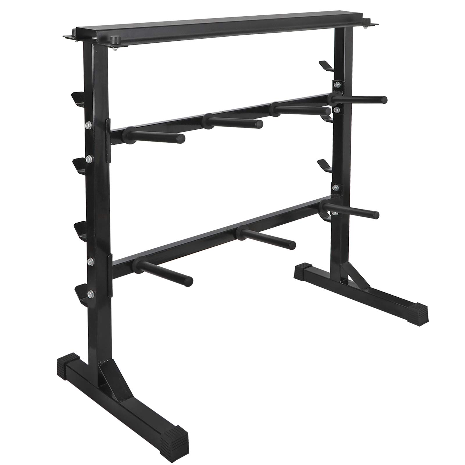 ZENSTYLE All-in-One Dumbbell Barbell Weight Plate Rack Multifunctional Weight Storage Stand with 1-Tier Dumbbell Shelf 2-Tier 7 Posts Olympic Weight Plate Stand and 4-Tier Barbell Rack