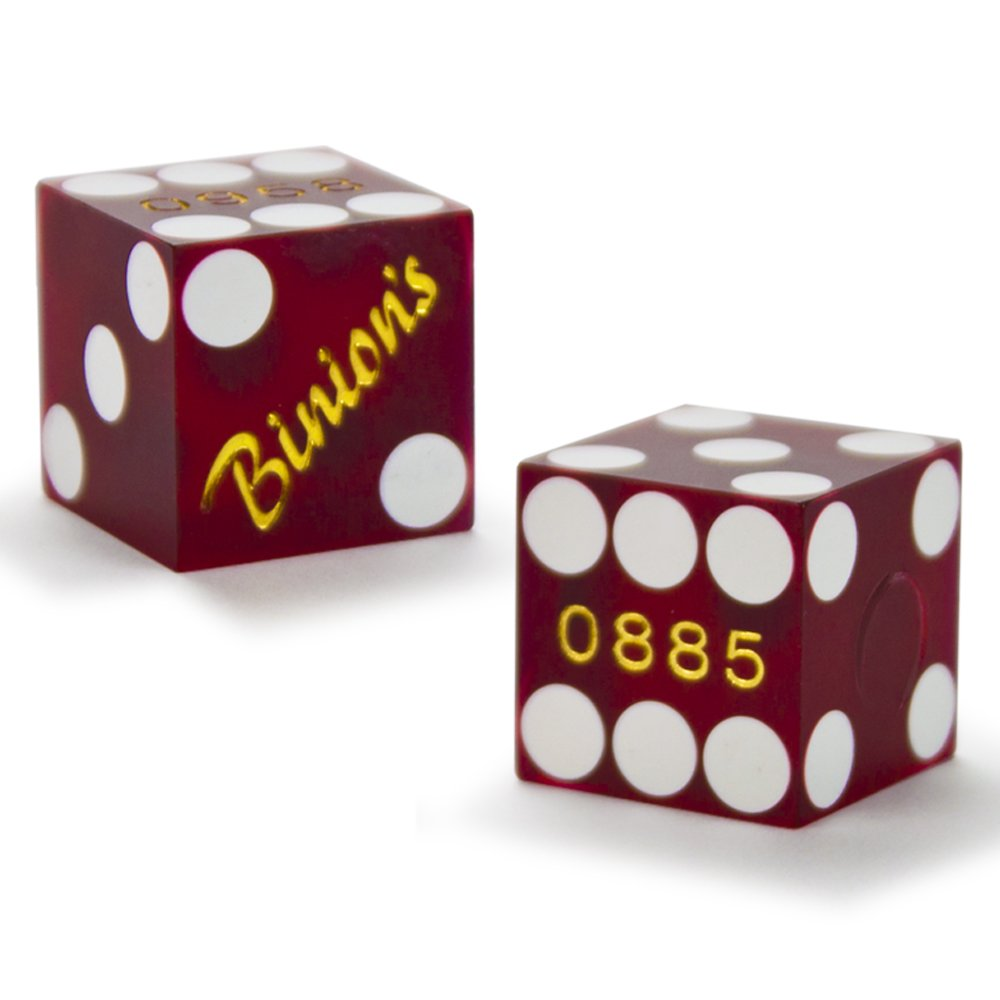 Pair (2) of Official 19mm Casino Dice Used at Binions Gambling Hall and Hotel by Brybelly