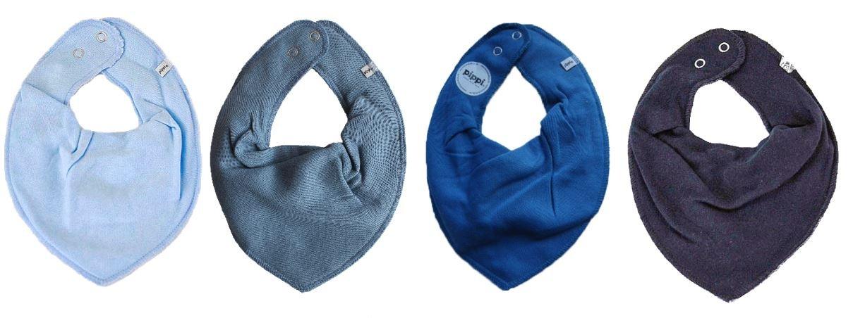Pippi * Set of 4Baby Bibs Triangle Neck Scarf Set of 4Light Blue/Blue-Grey * Vallarta Blue Dark blue