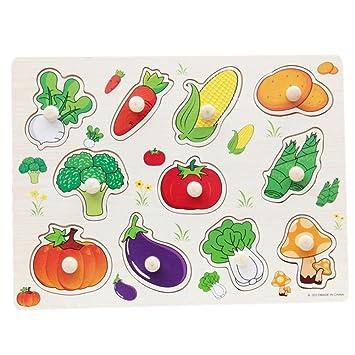 dff7d457a997 BOBORA Puzzles Infantiles de Madera Juegos Juguetes Educativos de Aprendizaje  Juguete Rompecabezas de Madera para Niños Pequeños de 1 Año (Vegetales): ...