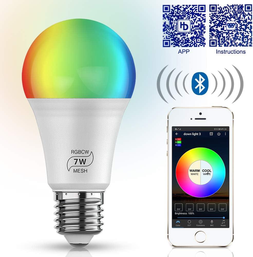 Google Home und Siri IFTTT Ampoule LED E27 AC 100-264V Gl/ühbirne WLAN Smart LED 7W Lampe WIFI Beleuchtung Dimmbar 16 Mio Farben Leuchtmittel E27 Bulbs Kompatibel mit Alexa 4er Pack