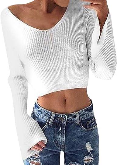 CHMORA - Camiseta para mujer, color blanco con cuello en V y manga larga para hacer punto