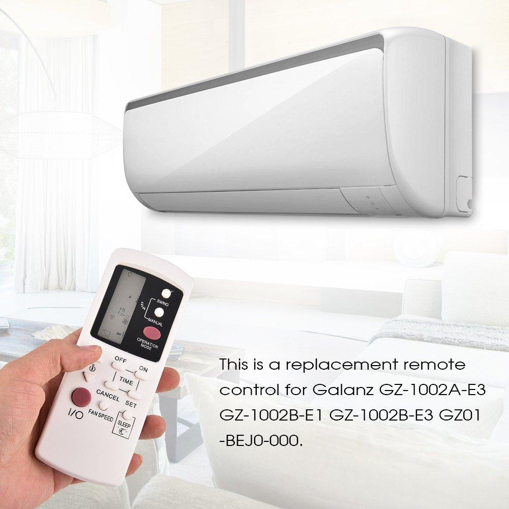Tihebeyan Reemplazo de Aire Acondicionado de Control Remoto para Galanz GZ-1002A-E3 GZ-1002B-E1 GZ-1002B-E3 GZ01-BEJ0-000 Aire Acondicionado