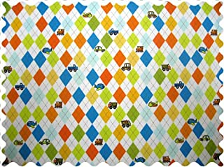 product image for SheetWorld 100% Cotton Percale Fabric by The Yard, Argyle White Transport, 36 x 44
