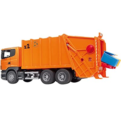 Bruder Scania R-Series Garbage Truck - Orange: Toys & Games