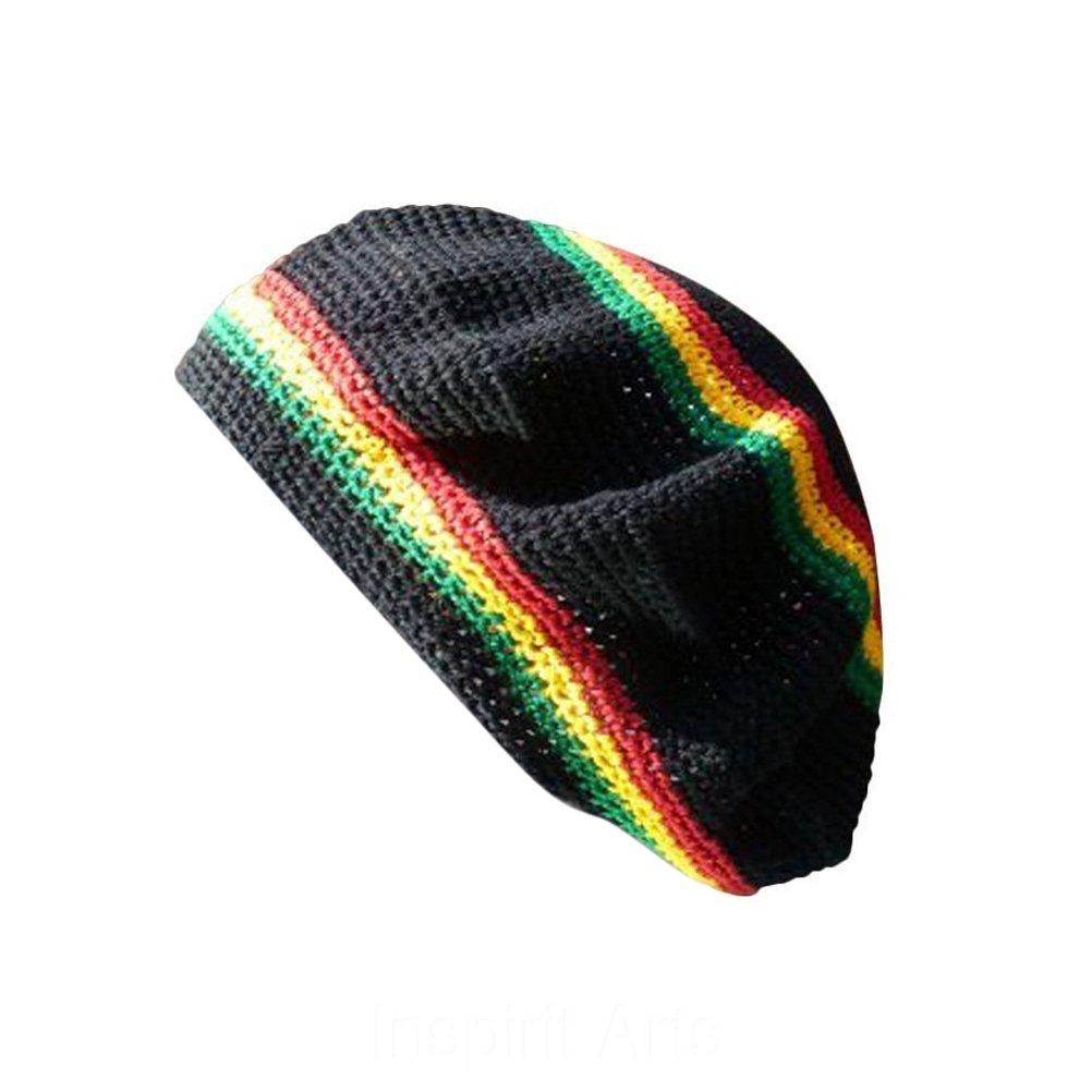 TAM Beret HAT Black with Reggae Stripe Hand Made Crochet Knit Slouchy Dreadlock Inspirit Arts Cap