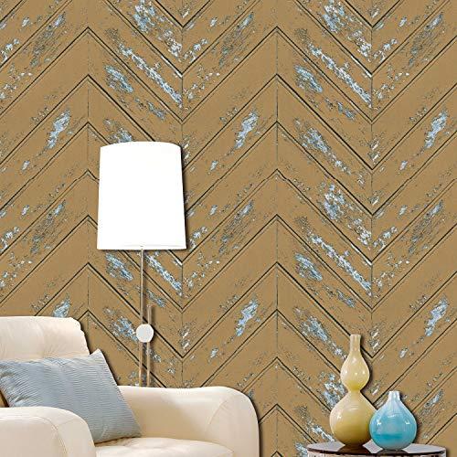 Z050 Chevron Wood Wallpaper Rolls, Yellow/Light Blue Faux Wood Textured Paneling Wall Mural Kitchen Bedroom Living Room Hotels Wall Decoration 20.8